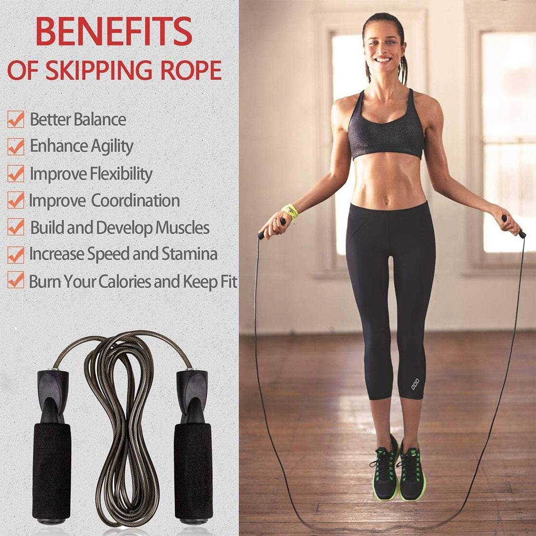 Steel Wire Jump Rope Fitness Equipment Jump Ropes 054b4f3ea543c990f6b125: Style 1|Style 2